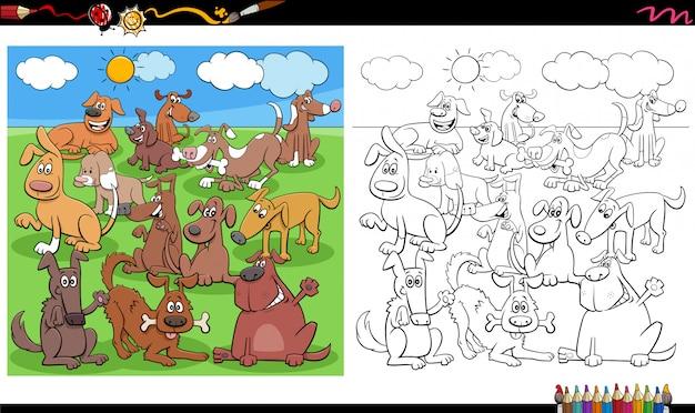 Page de livre de coloriage de groupe de personnages de chiens drôles