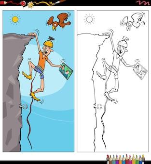 Page de livre de coloriage de personnage de grimpeur de dessin animé