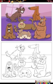 Page de livre de coloriage de personnages de chiens drôles de dessin animé