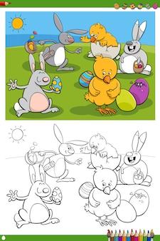 Page de livre de coloriage de personnages de lapins et de poussins de pâques
