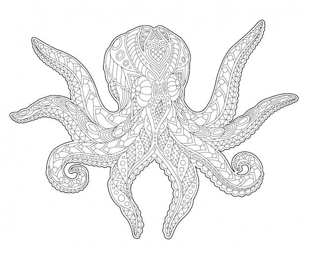 Page de livre de coloriage pour adultes avec pieuvre stylisée