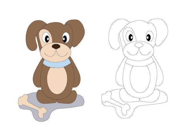 Page de livre de coloriage pour chien mignon enfants