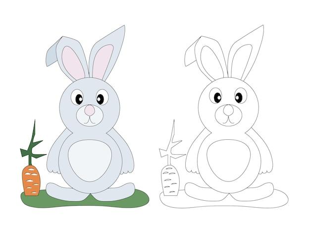 Page de livre de coloriage pour enfants lapin mignon