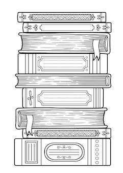 Page de livre de coloriage de vecteur. journée mondiale du livre. page de coloriage doodle détaillée pour adultes