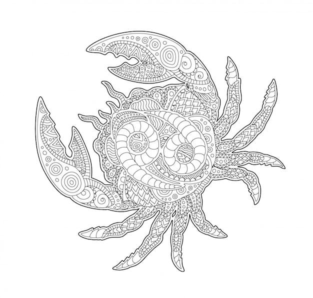 Page de livre à colorier avec le cancer et le symbole du zodiaque