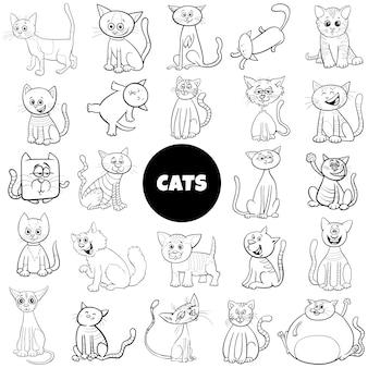 Page de livre de couleur de jeu de caractères de chat de dessin animé grand