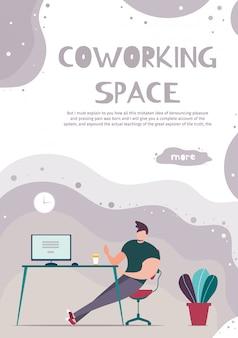 Page mobile annonçant un espace de coworking moderne