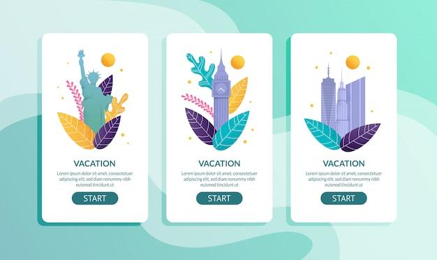 Page mobile offre des vacances dans les pays étrangers