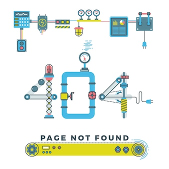 Page non trouvée erreur 404 avec des robots et des machines