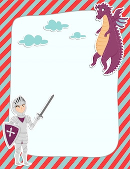 Page de note colorée avec un chevalier et un dragon.