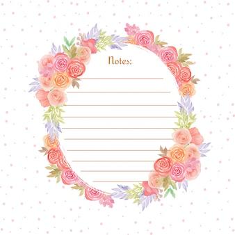 Page de note colorée avec de magnifiques fleurs à l'aquarelle