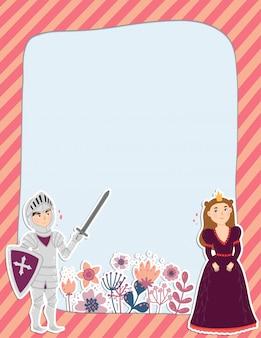 Page de note colorée avec une princesse, un chevalier et des fleurs.