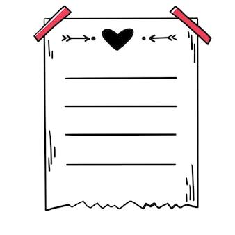 Page de note de planificateur de papier journal de balle mignon vecteur dessiné à la main