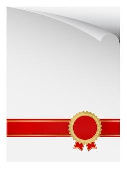 Page de papier recourbé avec badge de récompense