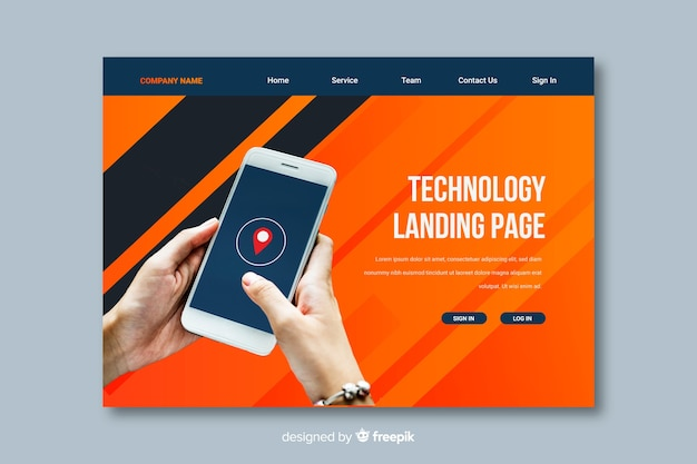 Page de renvoi de la technologie smartphone