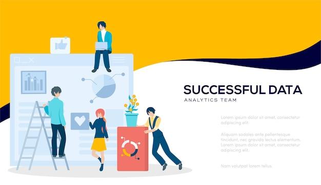 Page de site de curseur d'illustration moderne. bannière web de l'équipe d'analyse de données réussie.
