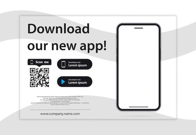 Page de téléchargement de l'application mobile. smartphone à écran vide pour vos applications. téléchargez notre nouvelle application, l'application mobile. charger les boutons. téléchargez notre application, arrière-plan. page d'accueil de l'application mobile