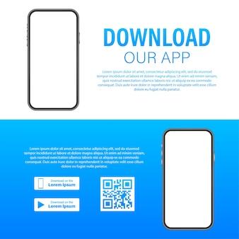 Page De Téléchargement De L'application Mobile. Smartphone à écran Vide Pour Votre Application. Téléchargez L'application. Illustration Vectorielle De Stock. Vecteur Premium