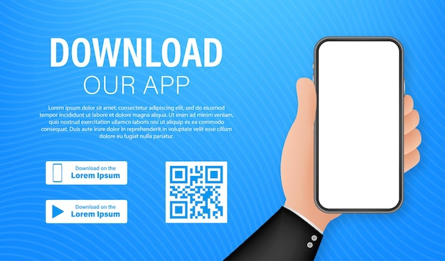 Page de téléchargement de l'application mobile. smartphone à écran vide pour votre application. téléchargez l'application. illustration vectorielle de stock.