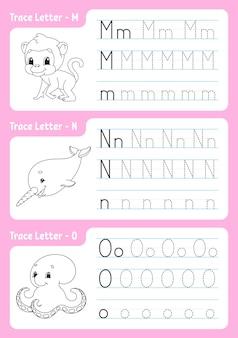 Page de traçage de l'alphabet. feuille de travail pour les enfants.