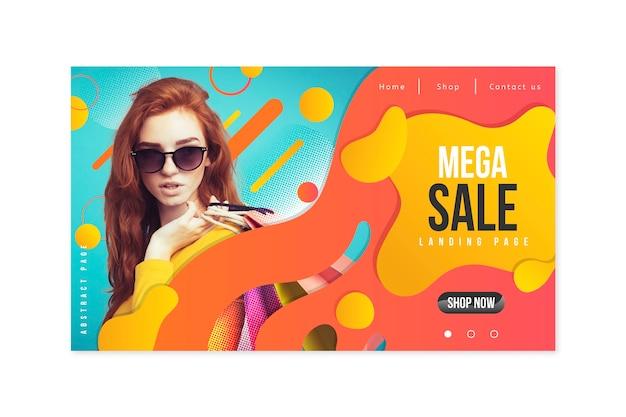Page de vente abstraite avec photo