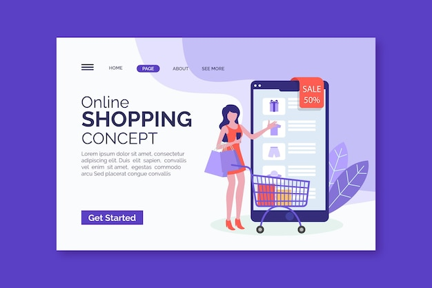 Page web d'achat en ligne plate