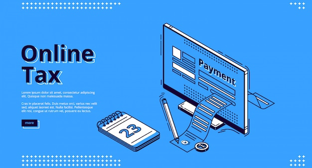 Page web d'atterrissage isométrique de l'impôt en ligne, fiscalité