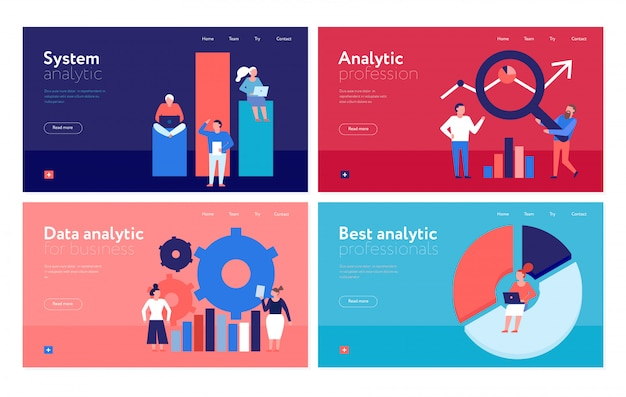 Page web de bannières colorées plates d'analyse de données avec système d'analyse d'organisation d'entreprise isolé