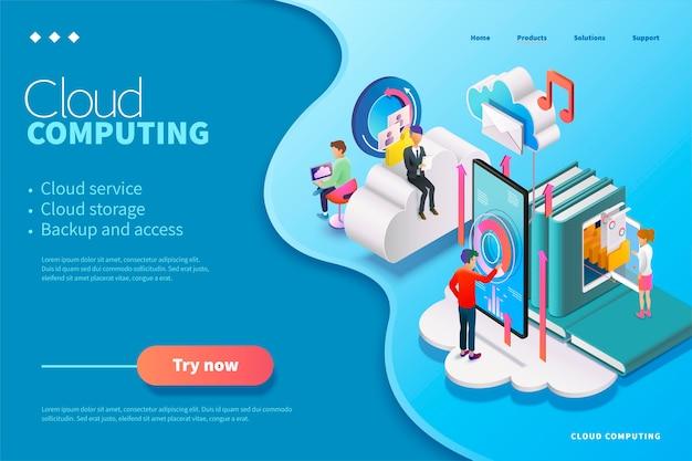 Page web de cloud computing isométrique, les personnes utilisant le service pourraient télécharger des données