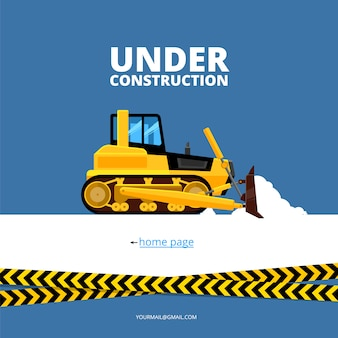 Page web en construction. bulldozer et danger