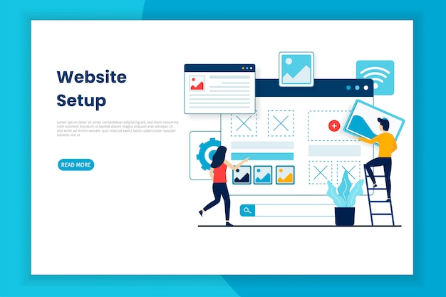 Page web d'illustration de configuration de site web de conception plate
