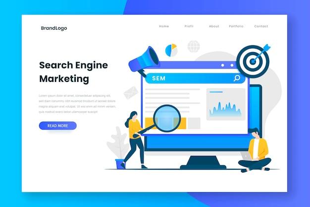 Page web d'illustration marketing de moteur de recherche