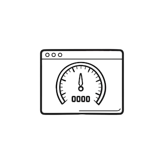 Page web avec indicateur de vitesse à l'intérieur de l'icône de doodle contour dessiné à la main. vitesse du site web, concept d'optimisation de la vitesse