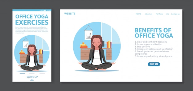 Page web et modèle de conception mobile d'application avec une femme médite au travail, concept de yoga de bureau