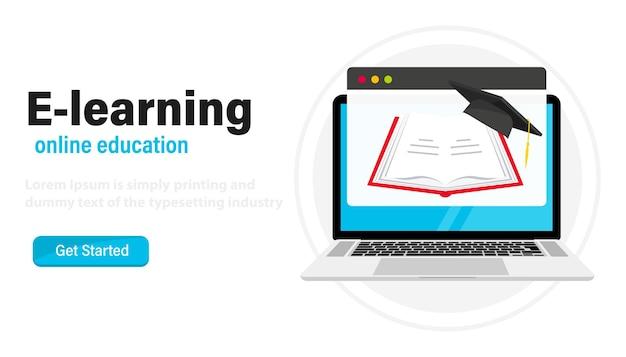 Page web d'ordinateur portable avec livre ouvert et chapeau de graduation