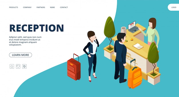Page web de la réception. atterrissage isométrique du point d'information de l'hôtel. personnes à l'hôtel