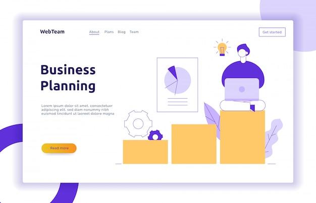 Page web de stratégie financière et commerciale de vecteur