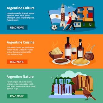 Page web touristique sur les bannières plates de l'argentine