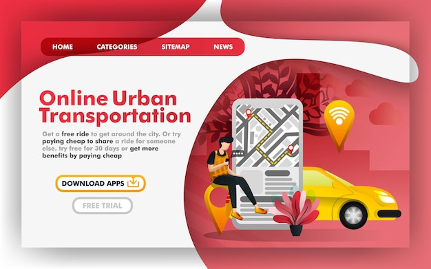 Page web sur le transport urbain en ligne