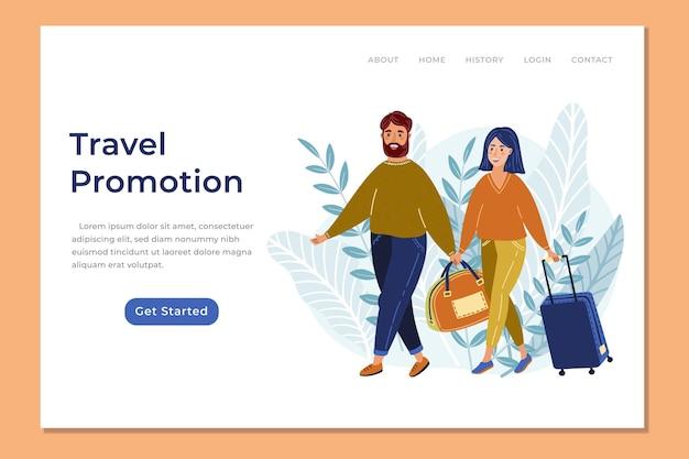 Page web de vente de voyages avec illustrations