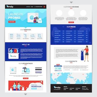 Page web verticale de service de blanchisserie avec symboles de prix et de contacts