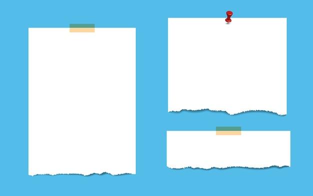 Pages de bloc-notes carrées vierges avec ruban adhésif et épingle