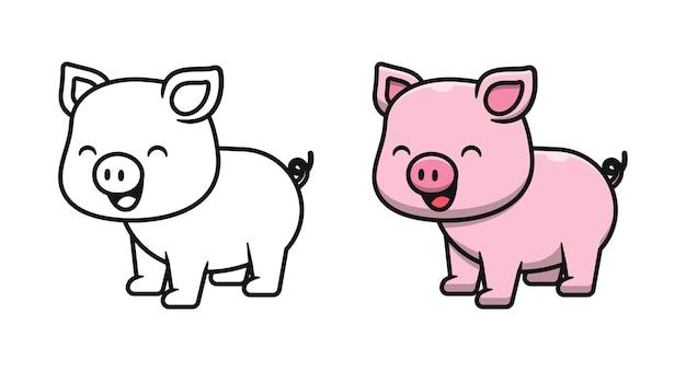Pages de coloriage de dessin animé mignon de cochon pour les enfants