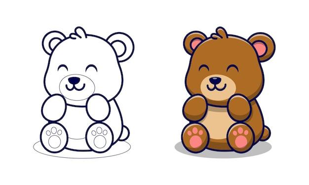 Pages de coloriage de dessin animé mignon ours pour les enfants