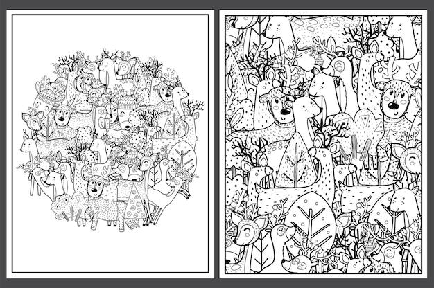 Pages à colorier avec des cerfs mignons doodle rennes dans la forêt pour livre de coloriage
