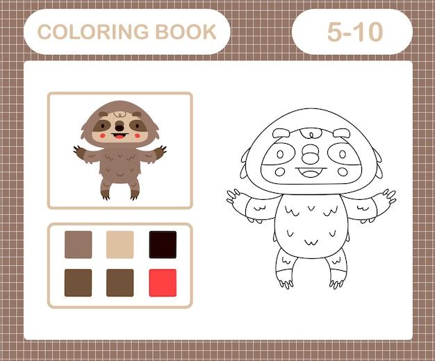 Pages à colorier d'un jeu éducatif mignon paresseux pour les enfants de 5 et 10 ans