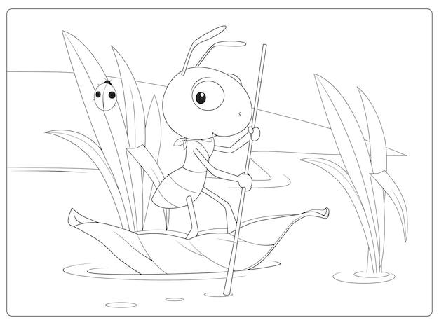 Pages à colorier pour enfants aventure fourmi vecteur premium