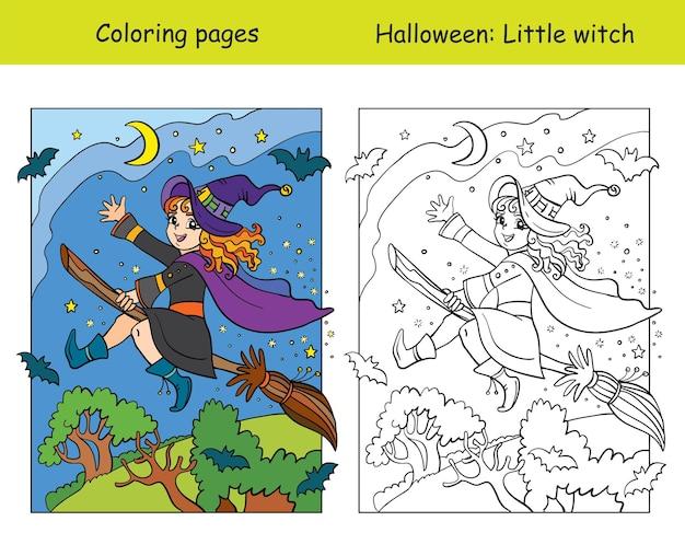 Pages à colorier vectorielles avec un exemple coloré de sorcière volant sur un balai. illustration vectorielle de dessin animé.