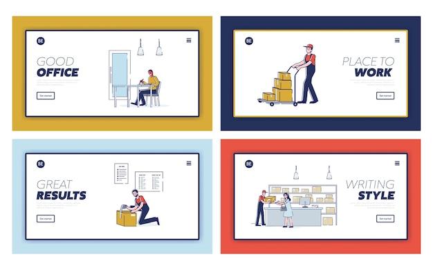 Pages de destination avec concept de poste et de livraison.