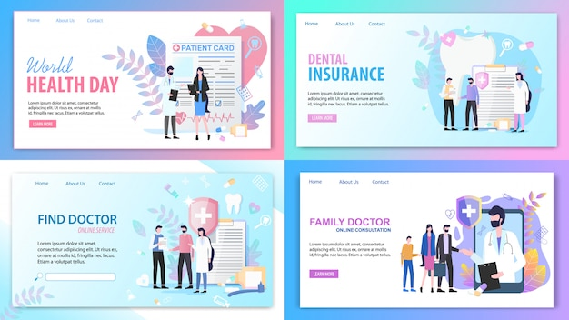 Pages de destination. consultation en ligne famille trouver un service de médecin